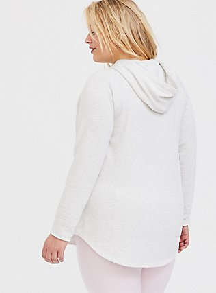 Oatmeal Fleece Raglan Tunic Hoodie, OATMEAL HEATHER, alternate
