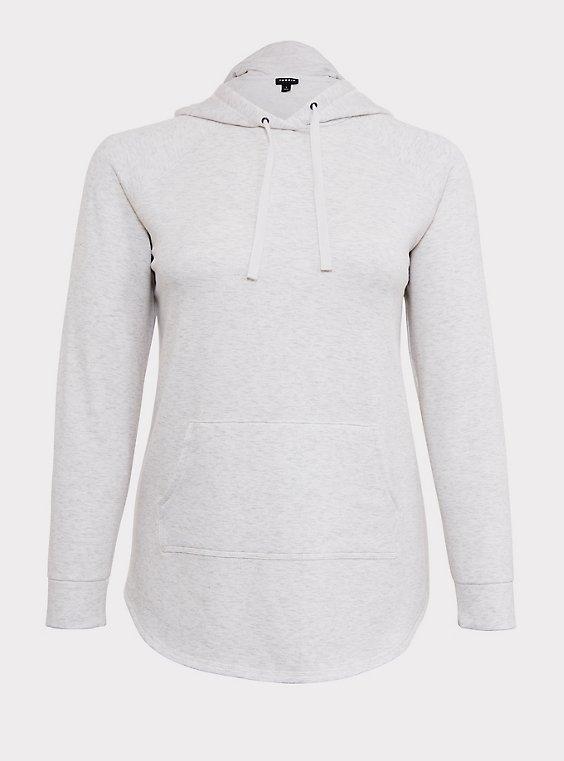 Plus Size Oatmeal Fleece Raglan Tunic Hoodie, , flat