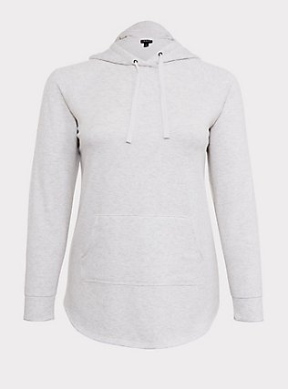 Oatmeal Fleece Raglan Tunic Hoodie, OATMEAL HEATHER, flat