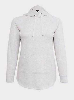 Plus Size Oatmeal Fleece Raglan Tunic Hoodie, OATMEAL HEATHER, flat