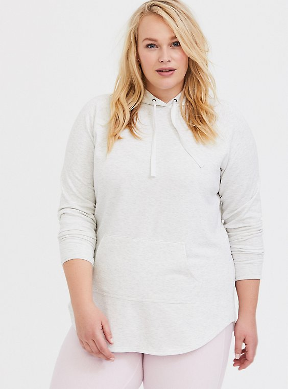 Oatmeal Fleece Raglan Tunic Hoodie, , hi-res