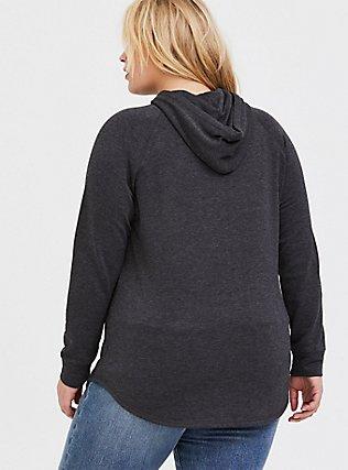 Charcoal Grey Fleece Raglan Tunic Hoodie, CHARCOAL  GREY, alternate