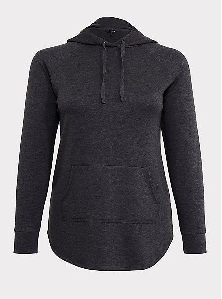 Charcoal Grey Fleece Raglan Tunic Hoodie, CHARCOAL  GREY, hi-res