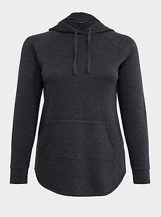 Charcoal Grey Fleece Raglan Tunic Hoodie, CHARCOAL  GREY, flat