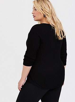 Plus Size Black Hacci Lace Raglan Top, DEEP BLACK, alternate