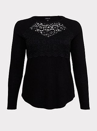 Black Hacci Lace Overlay Top, DEEP BLACK, flat