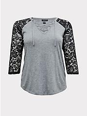 Heather Grey & Black Lace Sleeve Lace-Up Tee, CHARCOAL  GREY, hi-res