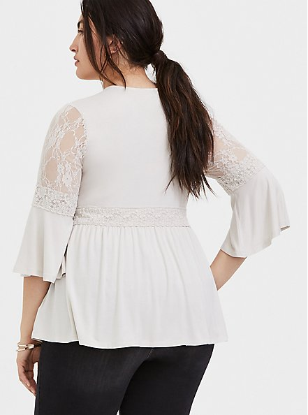 Super Soft & Lace Ivory Bell Sleeve Babydoll Top, WIND CHIME, alternate