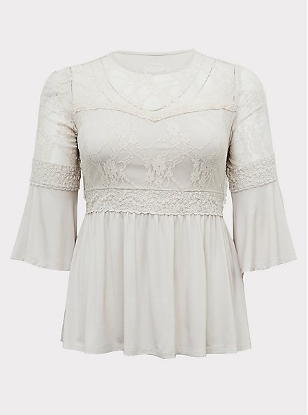 Super Soft & Lace Ivory Bell Sleeve Babydoll Top, WIND CHIME, hi-res