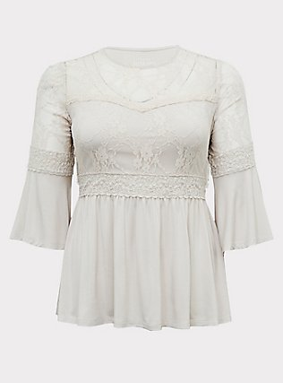 Super Soft & Lace Ivory Bell Sleeve Babydoll Top, WIND CHIME, flat