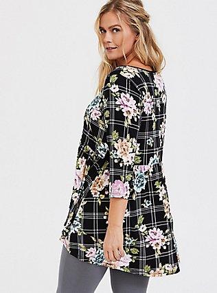 Plus Size Super Soft Black Plaid & Floral Crisscross Babydoll Tee, FLORAL PRINT, alternate
