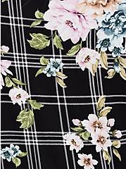 Super Soft Black Plaid & Floral Crisscross Babydoll Tee, FLORAL PRINT, alternate