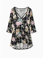 Super Soft Black Plaid & Floral Crisscross Babydoll Tee, FLORAL PRINT, hi-res
