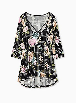 Plus Size Super Soft Black Plaid & Floral Crisscross Babydoll Tee, FLORAL PRINT, flat
