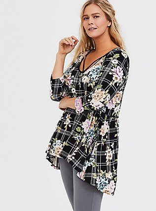 Plus Size Super Soft Black Plaid & Floral Crisscross Babydoll Tee, FLORAL PRINT, hi-res