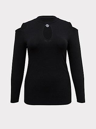 Black Cold Shoulder Long Sleeve Foxy Top, DEEP BLACK, flat