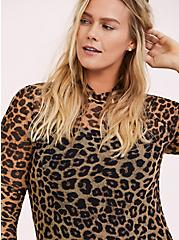 Leopard Mesh Mock Neck Top, LEOPARD, alternate