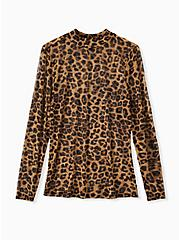 Leopard Mesh Mock Neck Top, LEOPARD, hi-res