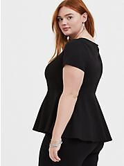 Black Scuba Knit V-Bar Peplum Top, DEEP BLACK, alternate