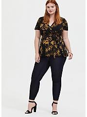 Black & Yellow Floral Crepe Peplum Wrap Top, ROSEY LIGHT, alternate