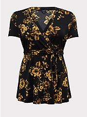 Black & Yellow Floral Crepe Peplum Wrap Top, ROSEY LIGHT, hi-res