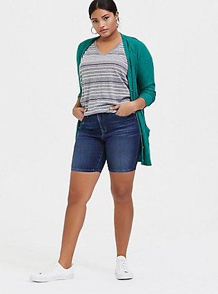 Plus Size Classic Fit V-Neck Tee - Triblend Jersey Grey & Pastel Stripe, STRIPES, alternate