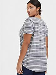 Classic Fit V-Neck Tee - Triblend Jersey Grey & Pastel Stripe, STRIPES, alternate
