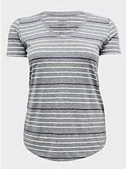 Classic Fit V-Neck Tee - Triblend Jersey Grey & Pastel Stripe, STRIPES, hi-res