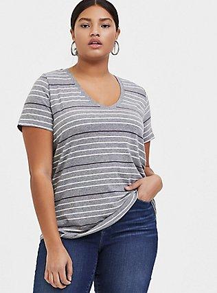 Plus Size Classic Fit V-Neck Tee - Triblend Jersey Grey & Pastel Stripe, STRIPES, hi-res