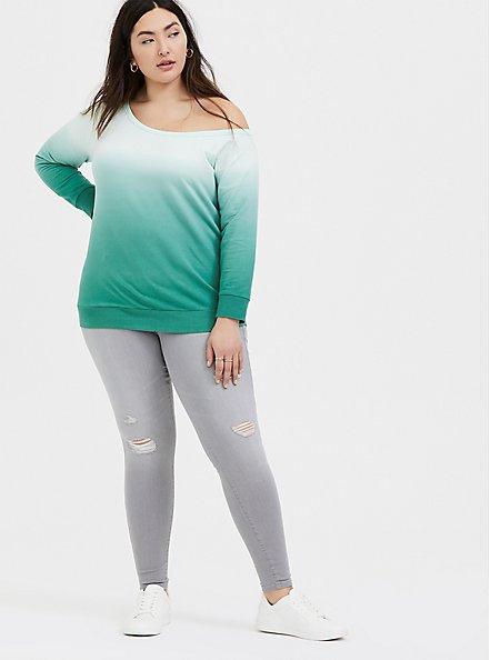 Green Terry Dip-Dye Off Shoulder Sweatshirt , MOONLIGHT JADE, alternate