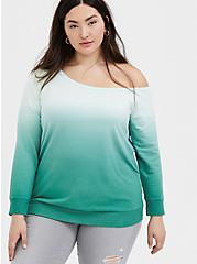 Green Terry Dip-Dye Off Shoulder Sweatshirt , MOONLIGHT JADE, hi-res