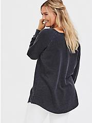Black Burnout Fleece Tunic Sweatshirt, DEEP BLACK, alternate