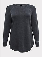 Black Burnout Fleece Tunic Sweatshirt, DEEP BLACK, hi-res