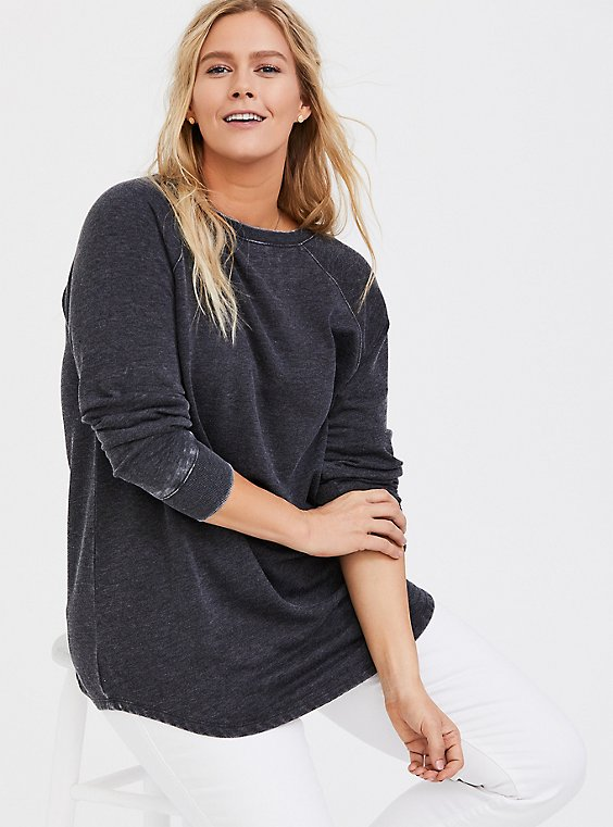 Black Burnout Fleece Tunic Sweatshirt, , hi-res