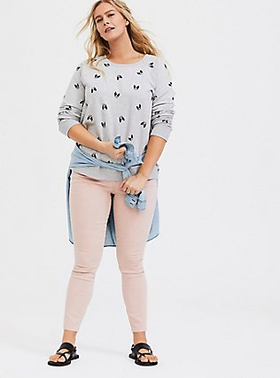 Plus Size Light Grey Fleece Boston Terrier Sweatshirt, DOG-GREY, alternate