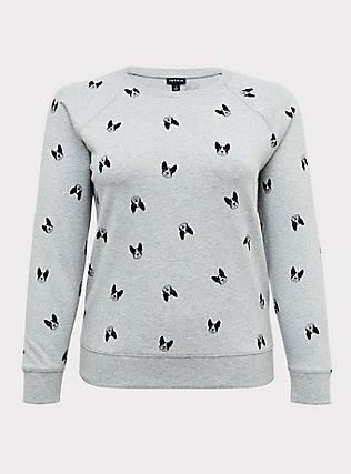 Plus Size Light Grey Fleece Boston Terrier Sweatshirt, DOG-GREY, flat