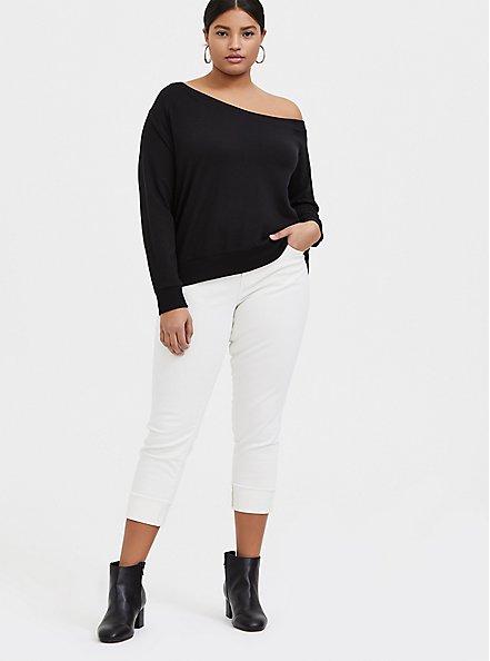 Black Terry Snap-Button Sleeve Off Shoulder Sweatshirt, DEEP BLACK, alternate