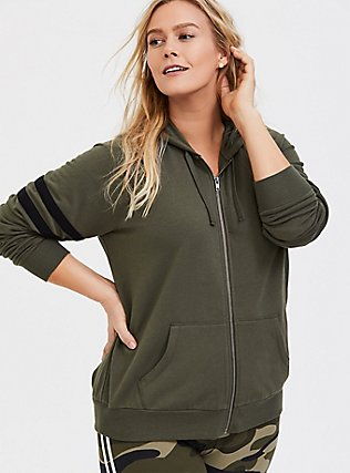 Plus Size Olive Green Fleece Football Zip Hoodie, DEEP DEPTHS, alternate