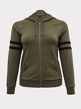 Plus Size Olive Green Fleece Football Zip Hoodie, DEEP DEPTHS, flat