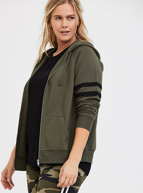 Plus Size Olive Green Fleece Football Zip Hoodie, , hi-res