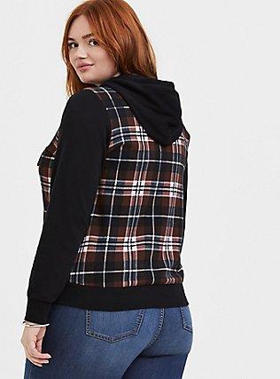 Plus Size Black Plaid Fleece Zip Hoodie, PLAID - BROWN, alternate