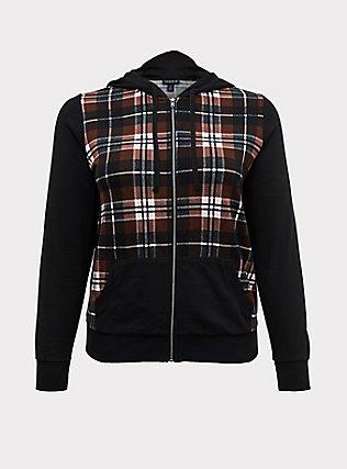 Plus Size Black Plaid Fleece Zip Hoodie, PLAID - BROWN, flat