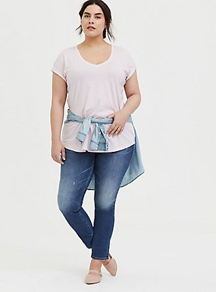 Plus Size Classic Fit V-Neck Tee - Heritage Cotton Lilac Pink , LILAC SNOW, alternate