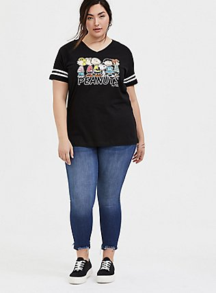 Plus Size Peanuts Charlie Brown & Snoopy Black Football Tee, DEEP BLACK, alternate