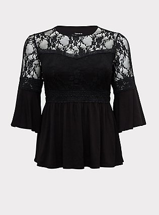 Super Soft & Lace Black Bell Sleeve Babydoll Top, DEEP BLACK, flat