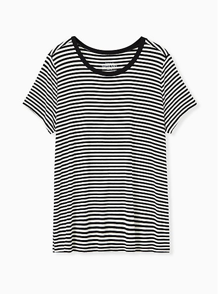 Plus Size Perfect Tee - Super Soft Stripe Black & White, STRIPES, hi-res