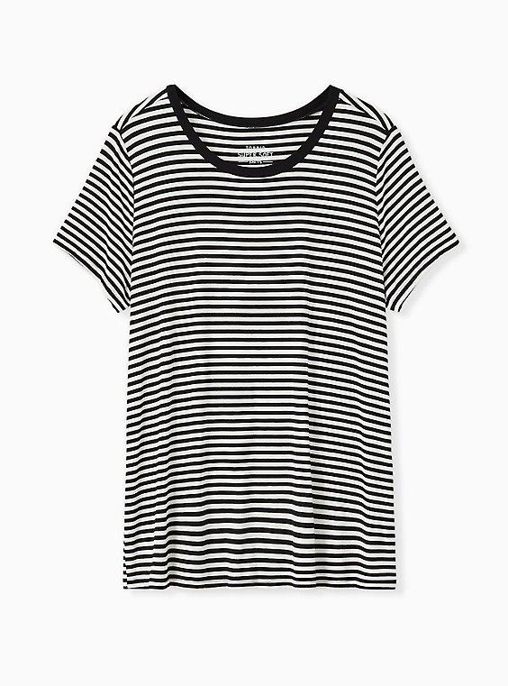 Slim Fit Crew Tee - Super Soft Black & White Stripe, , flat