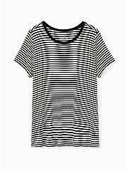 Perfect Tee - Super Soft Stripe Black & White, STRIPES, hi-res