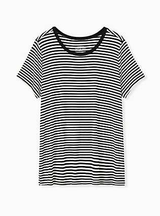 Plus Size Slim Fit Crew Tee - Super Soft Black & White Stripe, STRIPES, flat