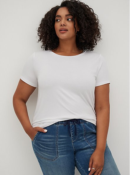 Plus Size Slim Fit Crew Tee - Super Soft White, BRIGHT WHITE, hi-res